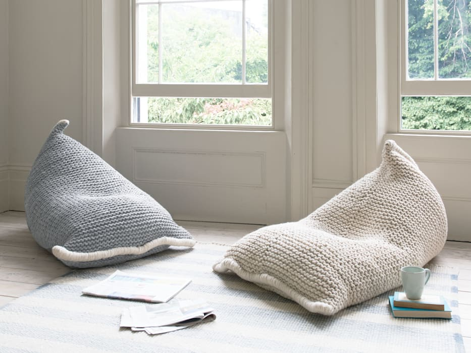 Chocs bean bag in Light Grey and Cream: modern Living room by Loaf