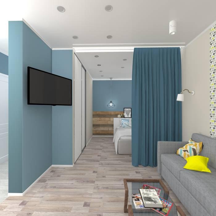 Дизайн проект однокомнатной квартиры для молодой семьи.: Гостиная в . Автор – ARTWAY центр профессиональных дизайнеров и строителей