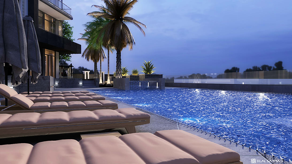 Green Heights:  Infinity pool by Belal Samman Architects,