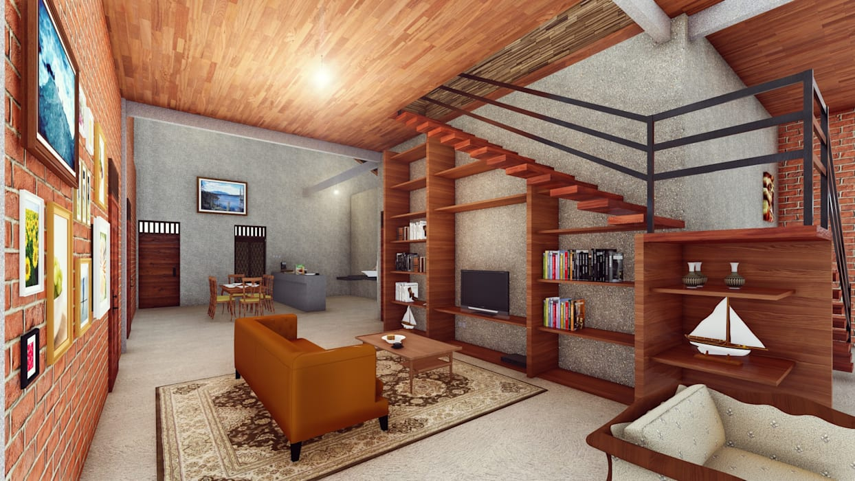 Salones de estilo  de Pr+ Architect, Tropical