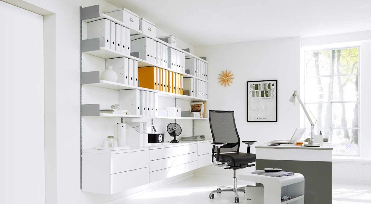 ON-WALL - Office Shelving Systems:  Living room by Regalraum UK