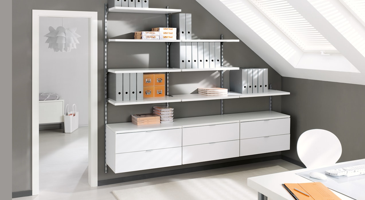On wall office shelving systems living room by regalraum uk
