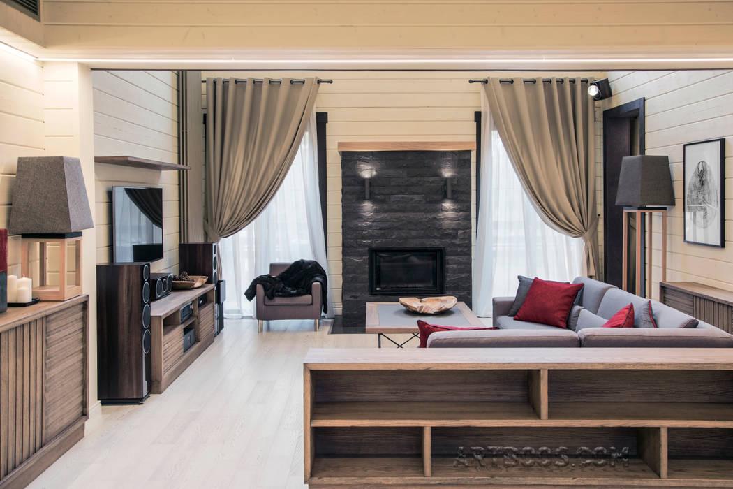 гостиная  камином: Гостиная в . Автор – Творческая мастерская АRTBOOS