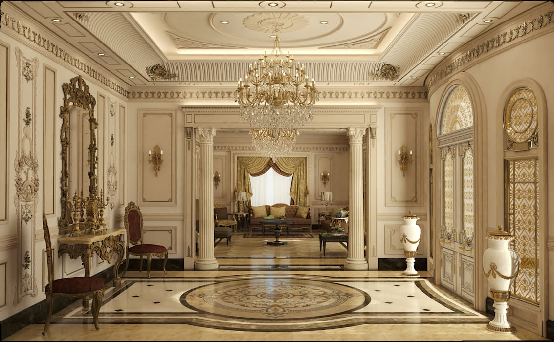 Classic Villa Reception Classic style corridor, hallway and stairs by Rêny Classic