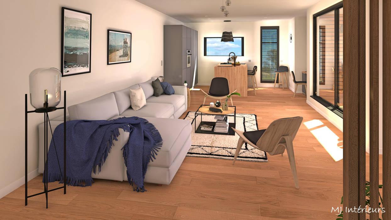 Perspective de la pièce à vivre salon moderne par mj ...