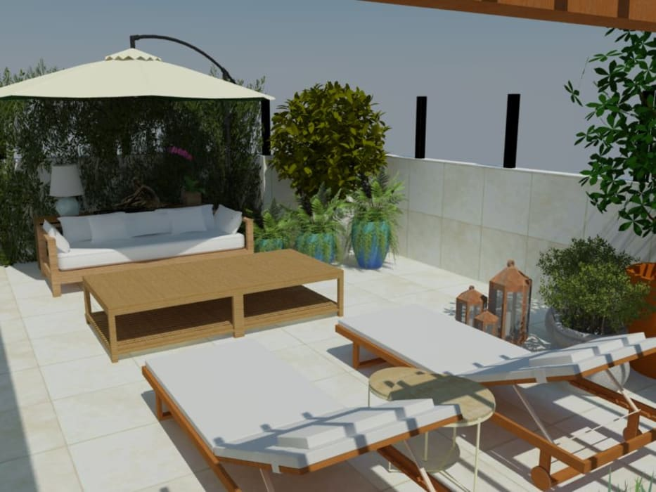 Roof terrace by Garnet Design de Interiores,