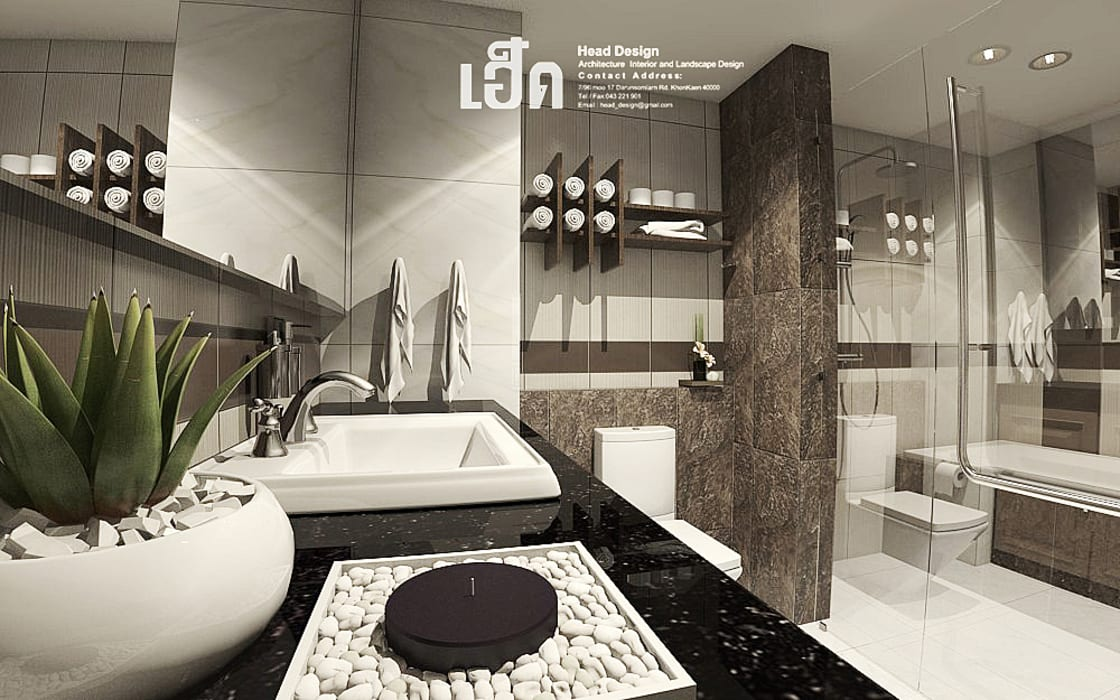 Nadee10 Hotel KhonKaen:  ห้องน้ำ โดย HEAD DESIGN,