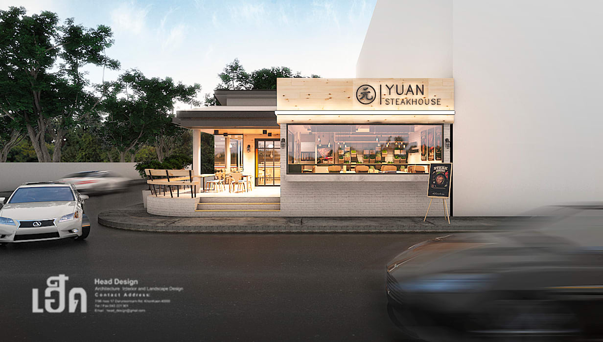 YUAN Steak Ubon:  ห้องทานข้าว โดย HEAD DESIGN,