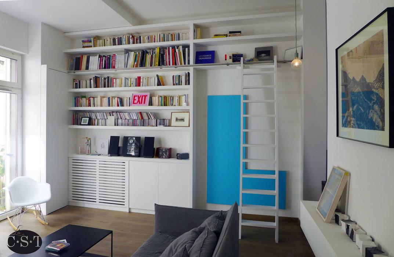 Bibliothèque intégrée façon maçonnerie: salon de style par ...