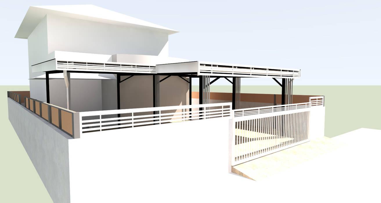 โรงจอดรถ:  บ้านและที่อยู่อาศัย by ออกแบบ เขียนแบบ ก่อสร้าง