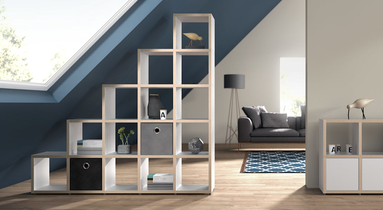 BOON—Cube Storage Units - Stepped Shelves Salas de estilo escandinavo de Regalraum UK Escandinavo