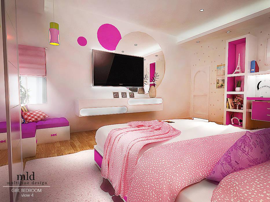 Final Design: Kamar tidur anak perempuan oleh Multiline Design,