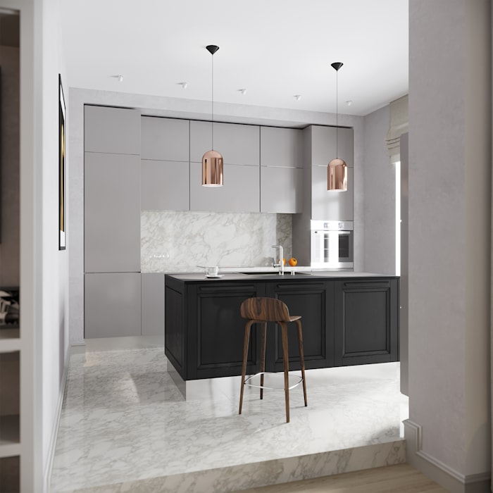 Modern Kitchen with a touch of copper :  Built-in kitchens by Atelier Lane | Interior Design