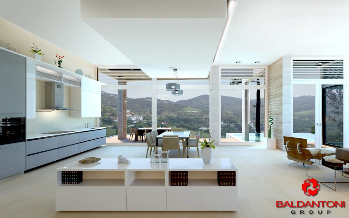 Soggiorno della villa con cucina: Soggiorno in stile in stile Moderno di Baldantoni Group
