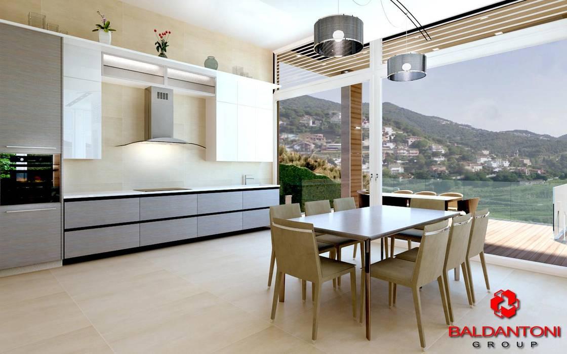 Cucina con soggiorno e vista panoramica: Cucina in stile in stile Moderno di Baldantoni Group
