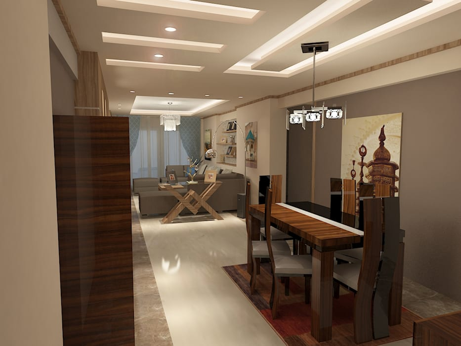 recepation area render 2 :  غرفة السفرة تنفيذ Quattro designs