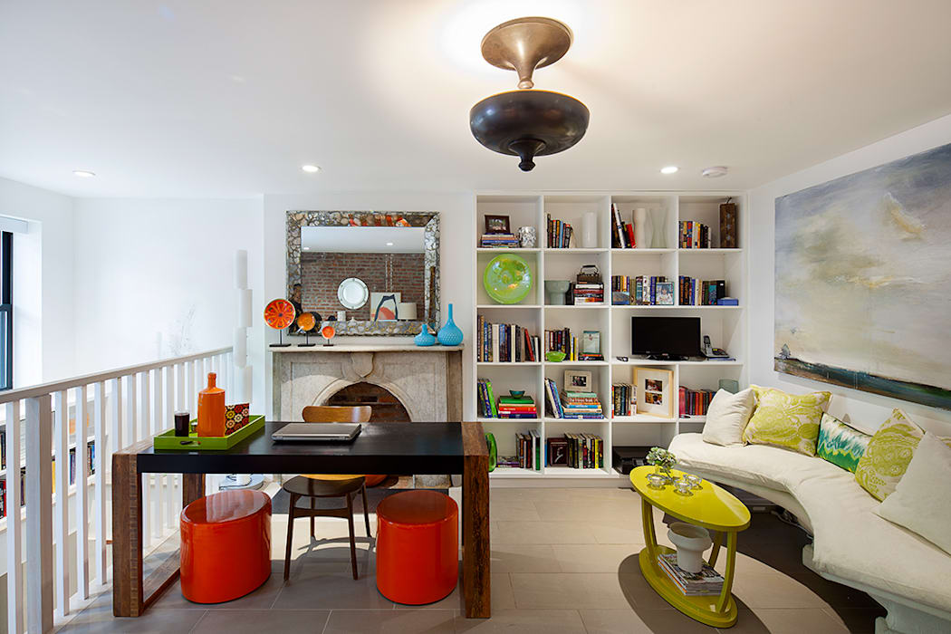 Carroll Gardens Townhouse Modern Study Room and Home Office by andretchelistcheffarchitects Modern
