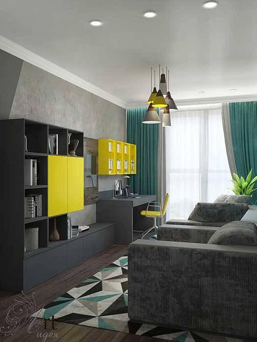 Дизайн однокомнатной квартиры: Гостиная в . Автор – Арт-Идея