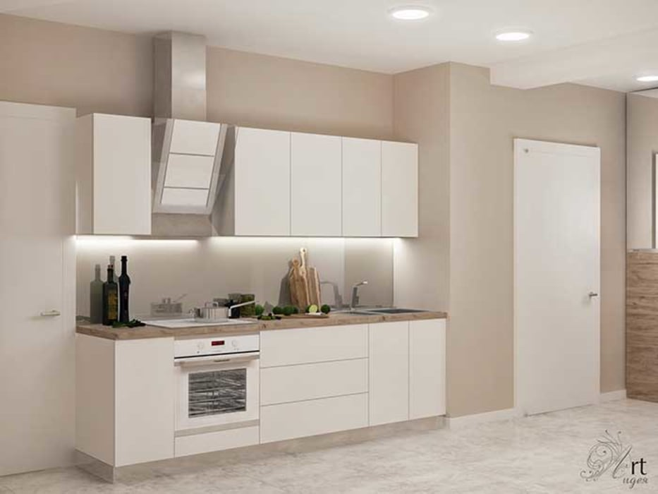 маленькая белая кухня: Кухни в . Автор – Арт-Идея