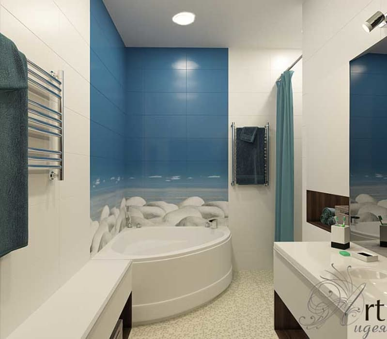Санузел в морском стиле. Ванна с видом на море: Ванные комнаты в . Автор – Арт-Идея