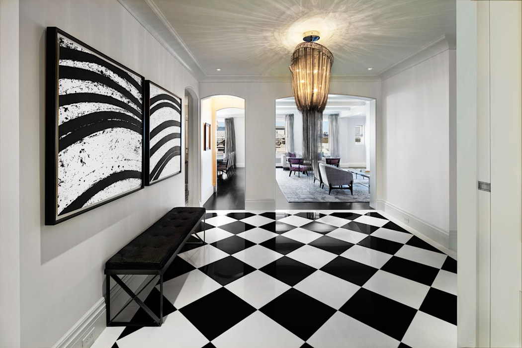 Fifth Avenue Apartment andretchelistcheffarchitects راهرو مدرن، راهرو و راه پله