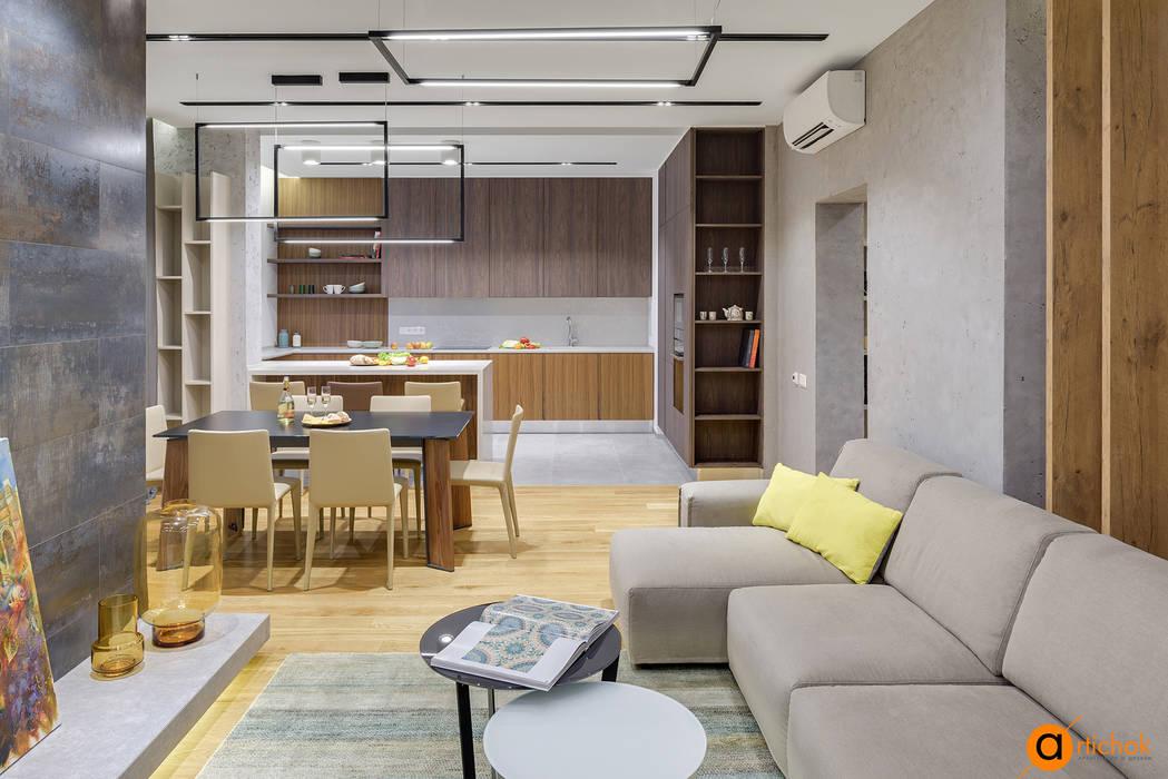 Лофт и контемпорари в дизайне интерьера квартиры: Гостиная в . Автор – Art-i-Chok