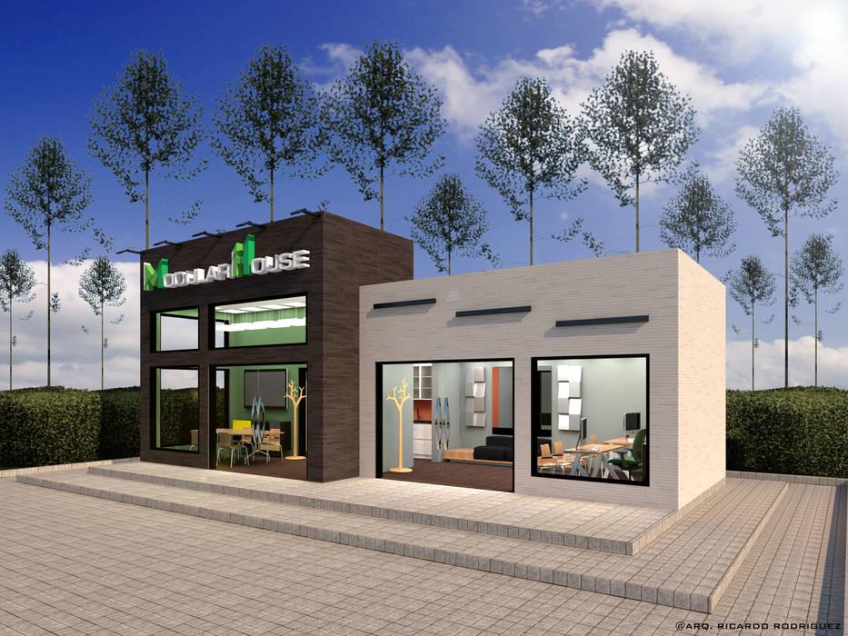 Vista Frontal Derecha: Oficinas y Tiendas de estilo  por RR Arquitecto