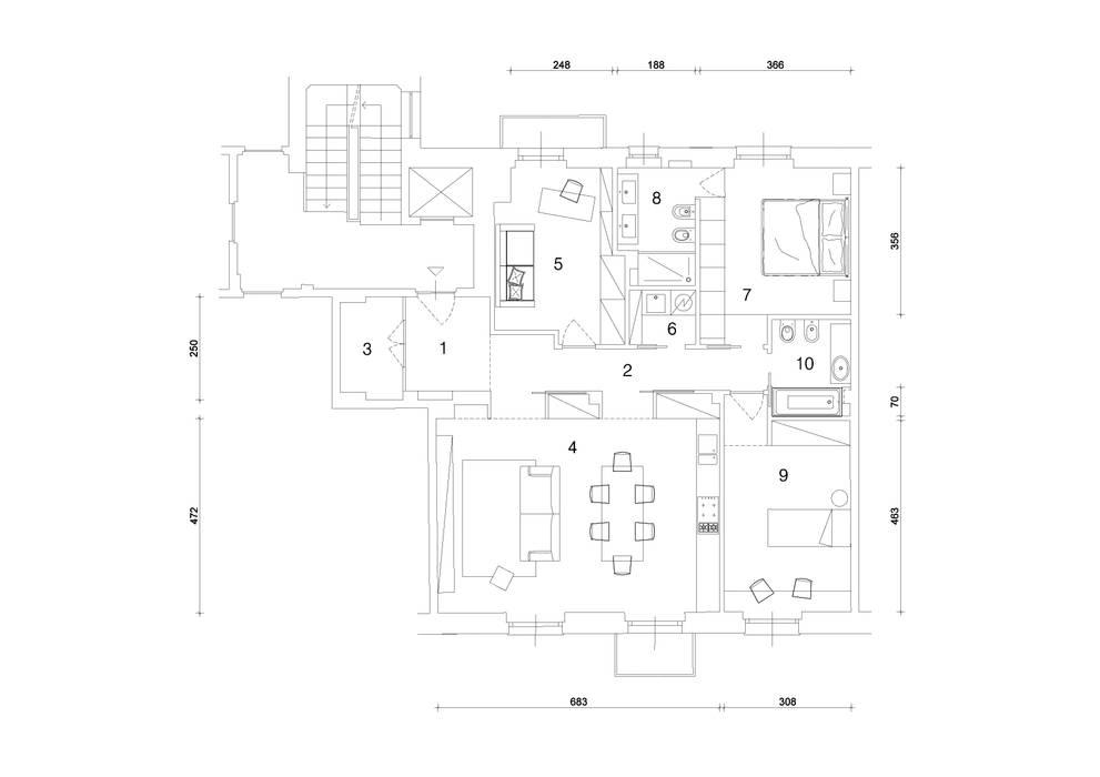planimetria: Case in stile  di studio ferlazzo natoli
