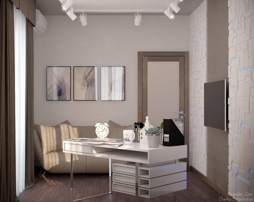 Дизайн кабинета в стиле модернизм в доме  в пос. Старобжегокай, г.Краснодар: Рабочие кабинеты в . Автор – Студия интерьерного дизайна happy.design