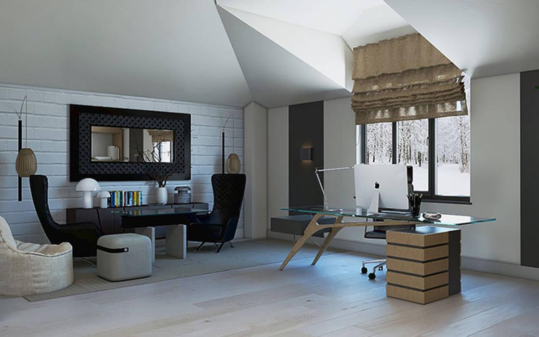 Таун хаус в современном стиле: Гостиная в . Автор –  Студия дизайна интерьера в Симферополе M-projection,