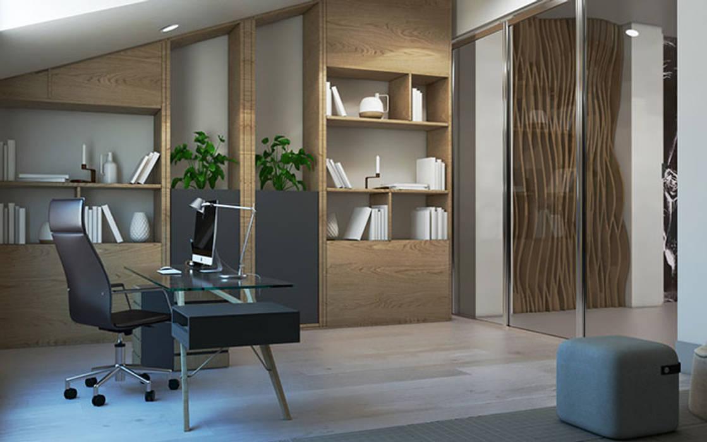 Кабинет в современном стиле: Рабочие кабинеты в . Автор –  Студия дизайна интерьера в Симферополе M-projection,
