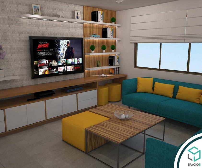 Sala de Televisión en Terraza: Terrazas de estilo  por Spacio5,