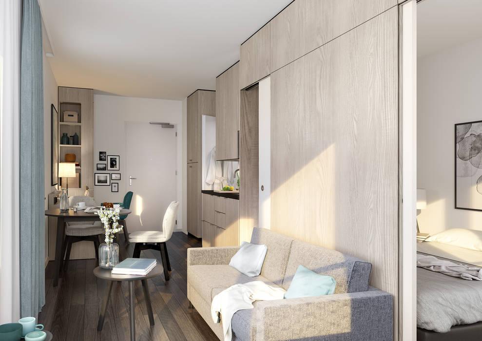 Fritz Tower - Mikroapartments in Berlin-Mitte:  Wohnzimmer von JLL Residential Development
