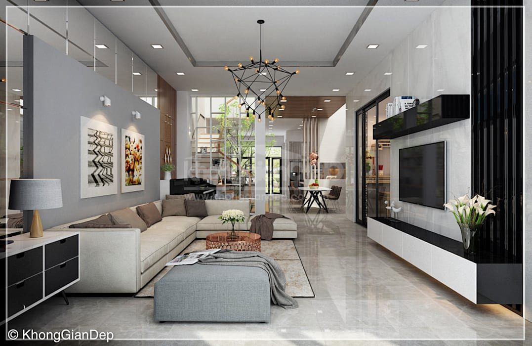 Phòng khách bởi Công ty cổ phần đầu tư xây dựng Không Gian Đẹp Hiện đại