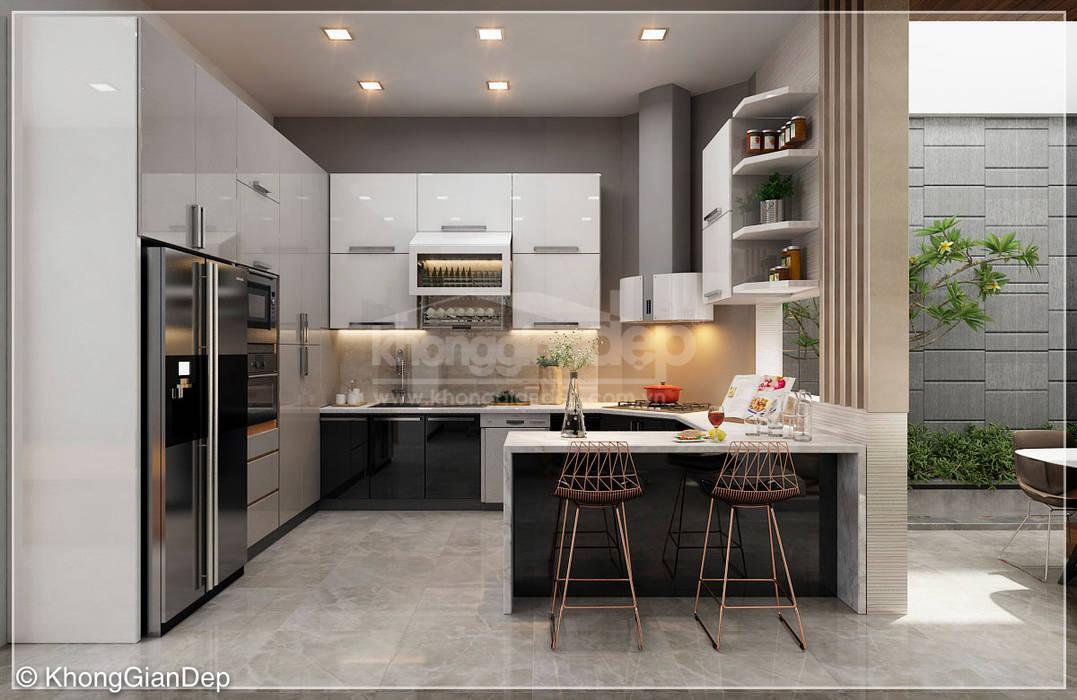 Кухня в стиле модерн от Công ty cổ phần đầu tư xây dựng Không Gian Đẹp Модерн