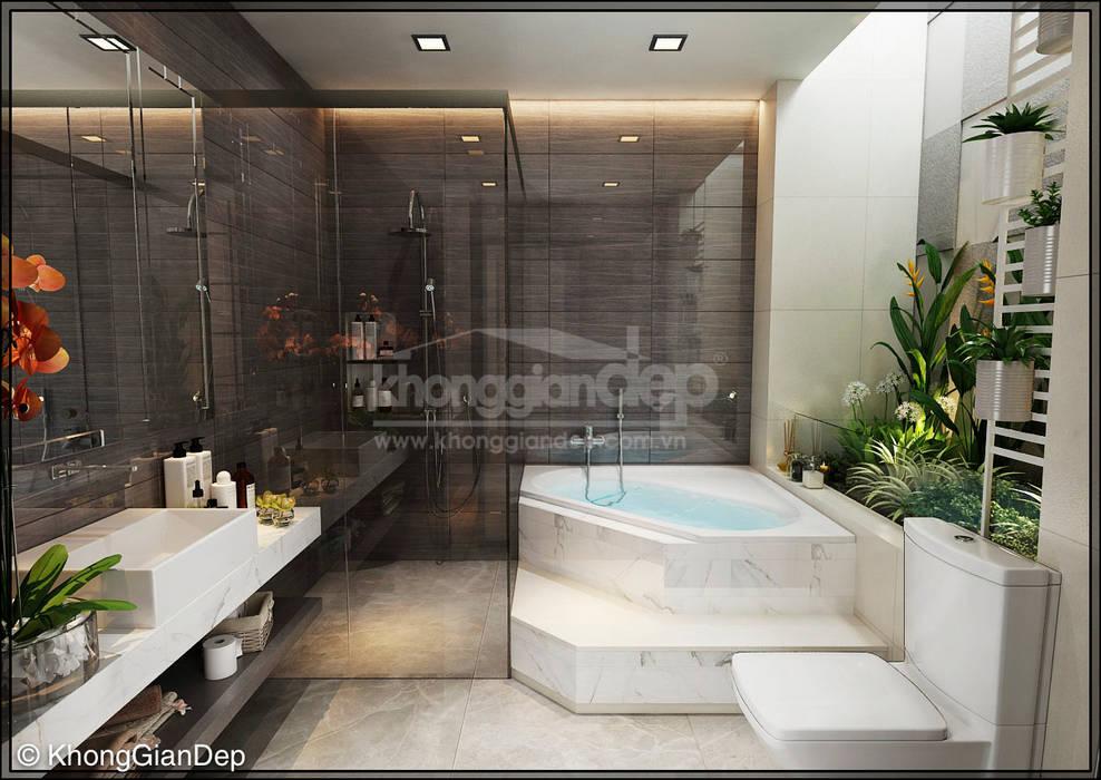 WC:  Phòng tắm by Công ty cổ phần đầu tư xây dựng Không Gian Đẹp , Hiện đại