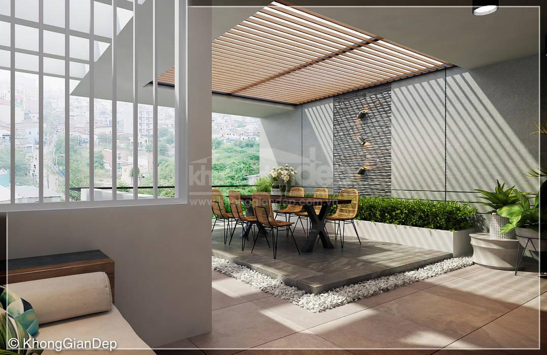 Sân thượng Công ty cổ phần đầu tư xây dựng Không Gian Đẹp Hiên, sân thượng phong cách hiện đại Brown