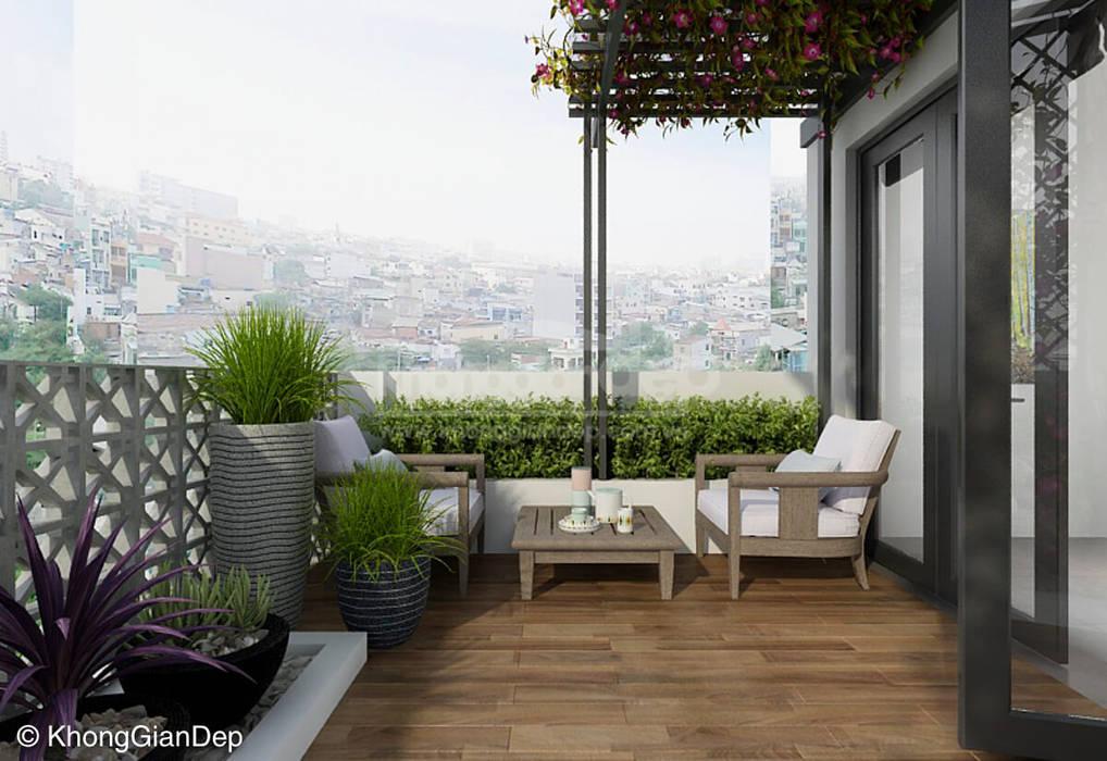 Sân thượng Công ty cổ phần đầu tư xây dựng Không Gian Đẹp Hiên, sân thượng phong cách hiện đại Green