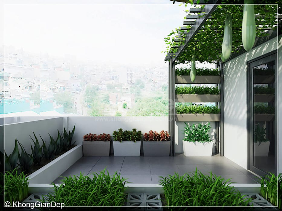 Sân thượng :  Hiên, sân thượng by Công ty cổ phần đầu tư xây dựng Không Gian Đẹp
