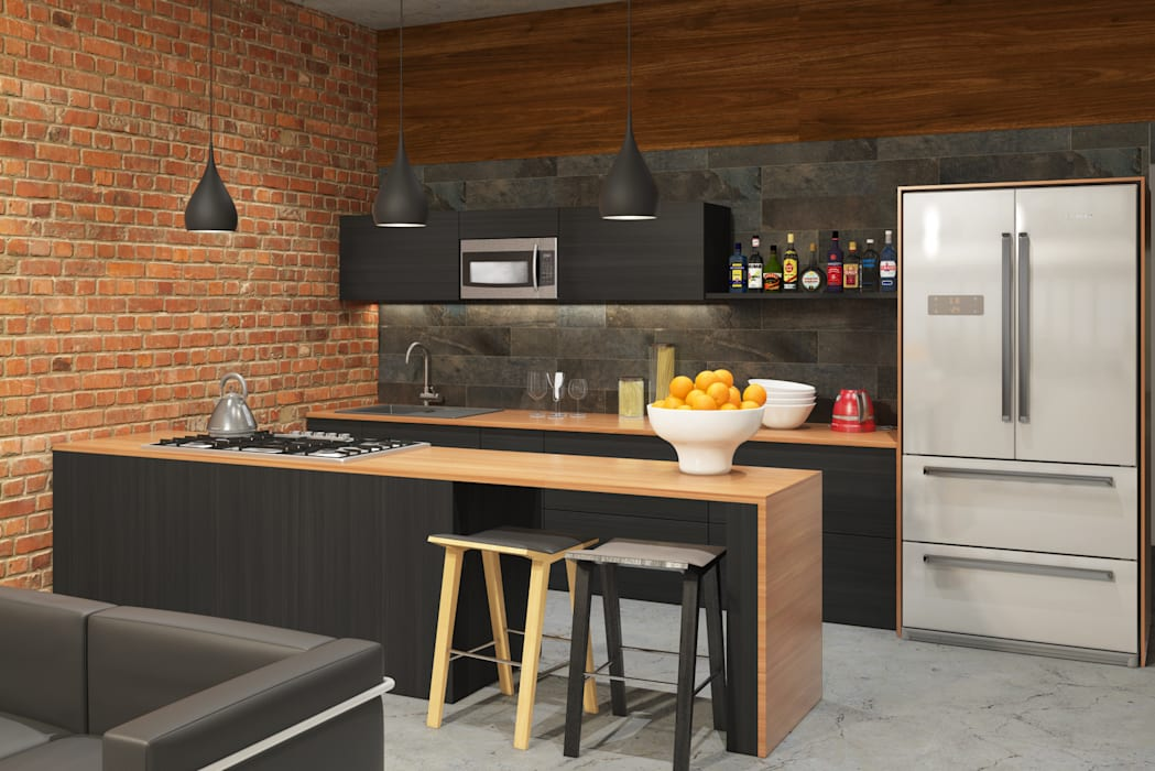 Industrial style apartment:  Kitchen by AT The Studio