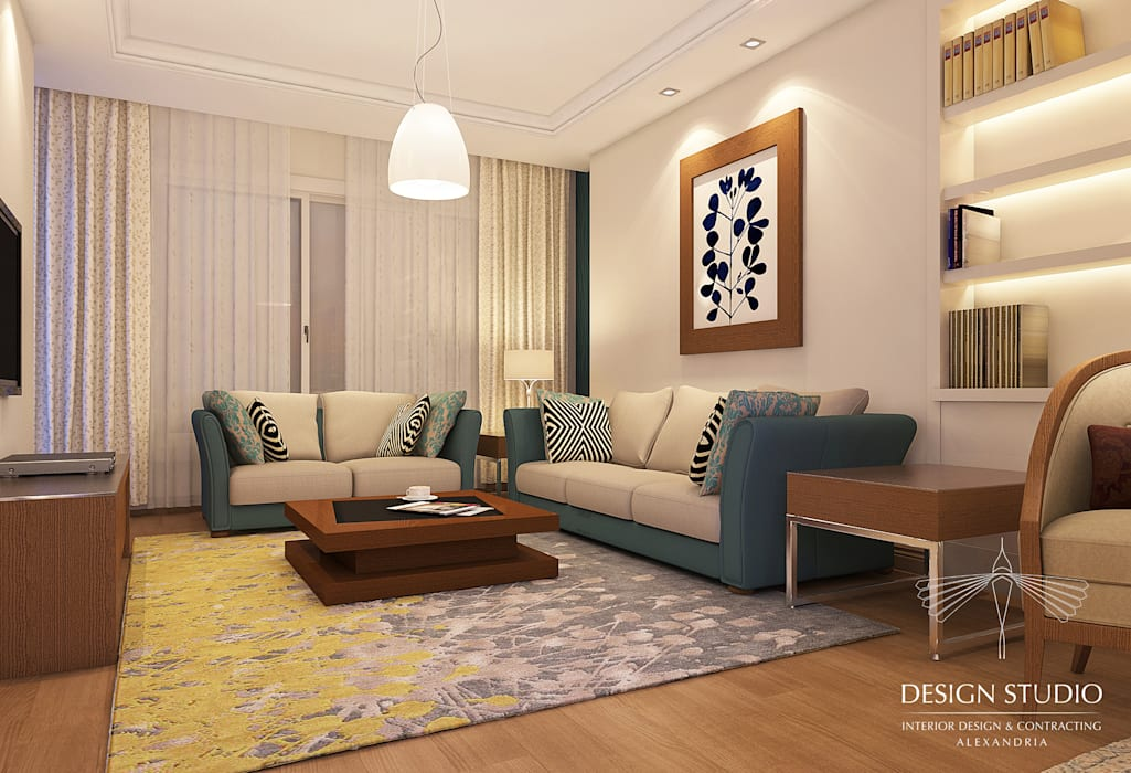 Modern Appartment:  غرفة المعيشة تنفيذ Design.Studio