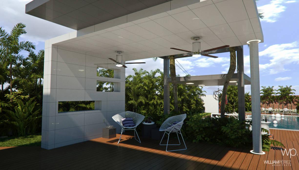 CASA MF: Jardines en la fachada de estilo  por Complementos C.A.,