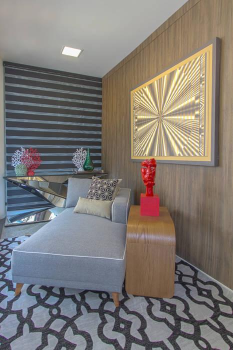 Chaise Cinza Linho por Sgabello Interiores Moderno Algodão Vermelho