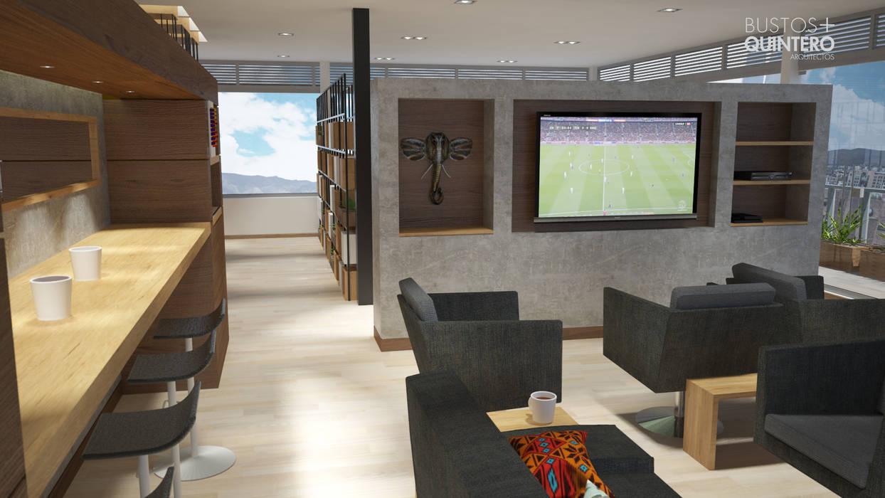 sala tv: Salas de estilo  por Bustos + Quintero arquitectos