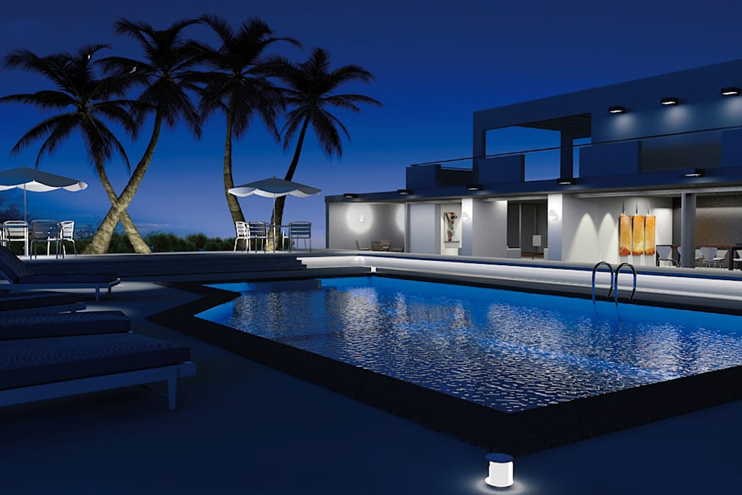 Casas Campestres Piscinas de estilo moderno de Arquitectos y Entorno S.A.S Moderno