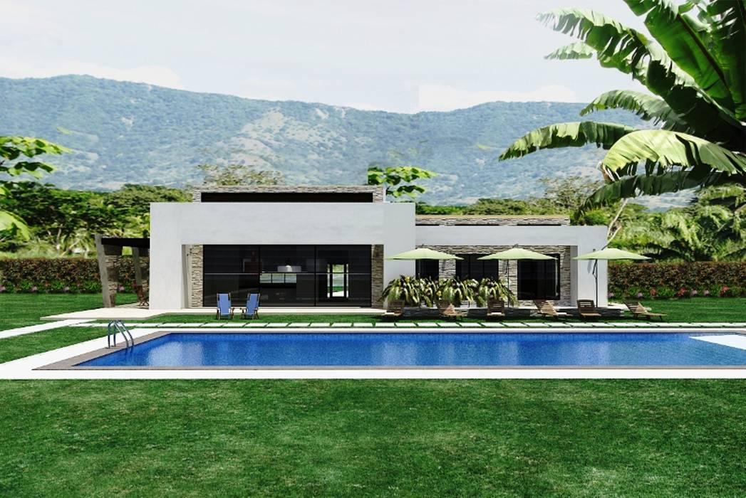 Casas campestres jardines de estilo moderno por for Casa moderna jardines