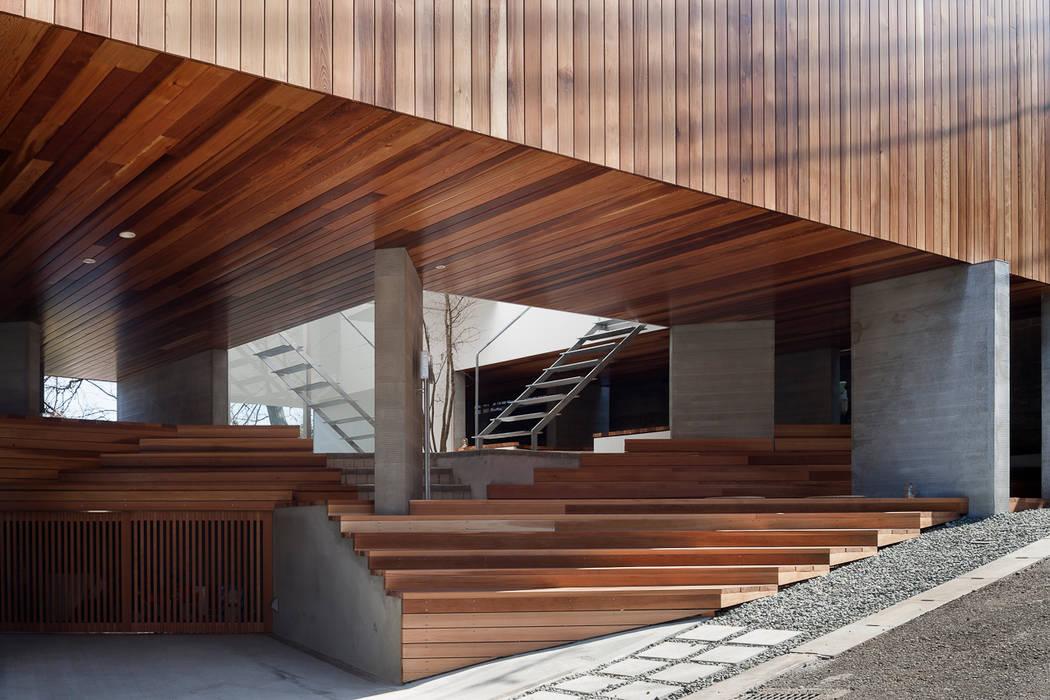 ギャラリーとスモールオフィスが同居した住居 の acaa モダン 木 木目調