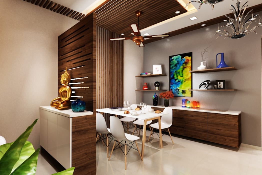 Foyer and dining area:  Dining room by The inside stories - by Minal