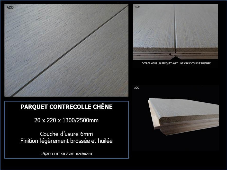 PARQUET CHENE CONTRECOLLE : Murs de style  par ADD