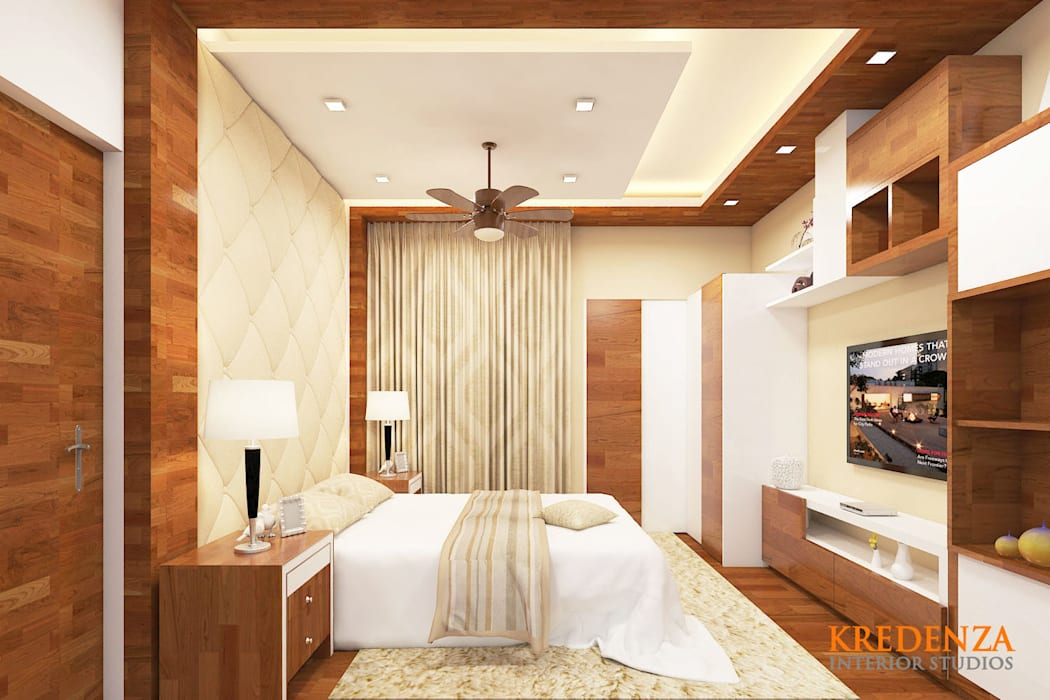 MASTER BEDROOM INTERIORS @ KRISHNA SHELTON:  Bedroom by Kredenza Interior Studios